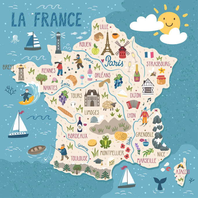 Map Of France French Riviera.Regions Of France Map And Top French Tourist Attractions France