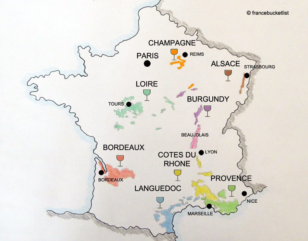 Wine Regions in France Map