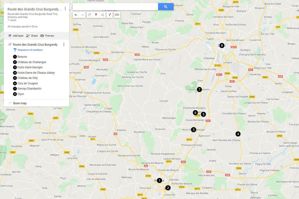 Road Trip Route des Grands Crus - Map